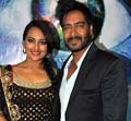 ajay and sonakshi in kbc for son of sardar promotion