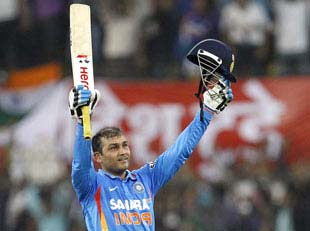the second cricket batsman sehwag who made double century in odi